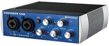 AudioBox(TM) USB (2x2 USB Recording System). Hardware. General Merchandise. Published by Hal Leonard.  A great choice for mobile musicians and podcasters, the 2-channel AudioBox USB is bus-powered, compact, ruggedly built, and works with virtually any PC or Mac recording software. It boasts high-performance Class A mic preamplifiers and professional-quality, 24-bit converters. And it comes with PreSonus' amazing Studio One® Artist DAW software for Mac® and Windows®.