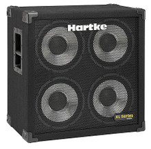 410XL Bass Cabinet (4 x 10 inch. Aluminum / 400 watts / 8 ohms, Dual Chamber). For Bass. Hartke Equipment. General Merchandise. Hal Leonard #HCX410. Published by Hal Leonard.  Professionals choose the XL Series because of its carefully calibrated and tuned cabinet design along with its high-quality aluminum cone drivers. These cabinets produce a smooth response along with the clear, punchy attack that changed the sound of bass. The 410XL features a twin chamber, dual-ported design. Housed in the cab are four 10-inch proprietary low frequency drivers that employ large voice coils, impregnated fabric surrounds and convex dust covers, all mounted in a heavy-duty steel frame. And with 400 watts of available power handling and a frequency response of 30 Hz to 5 kHz, this cabinet ensures professional performance and remarkable tone for any style of playing. Built for the road, the 410XL uses heavy-duty plywood construction and is covered in rugged carpet. Additionally, a recessed jack plate and ergonomic metal handles make transporting this cab no sweat. With strength to endure and tone to amaze, the 410XL ensures a performance that will make mouths drop.