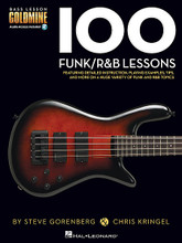 100 Funk/R&B Lessons (Bass Lesson Goldmine Series). For Bass. Bass Instruction. Softcover Audio Online. Guitar tablature. 208 pages. Published by Hal Leonard.  Expand your bass knowledge with the Bass Lesson Goldmine series! Featuring 100 individual modules covering a giant array of topics, each lesson in this Funk/R&B volume includes detailed instruction with playing examples presented in standard notation and tablature. You'll also get extremely useful tips, scale diagrams, chord grids, photos, and more to reinforce your learning experience plus 2 audio CDs featuring performance demos of all the examples in the book!  This volume covers a huge variety of funk and R&B bass styles, techniques, and concepts are covered, including: the pocket; fingerstyle funk; slap & pop techniques; hammer-ons and pull-offs; staccato & tenuto; funk fills and phrasing; dynamics; funk jazz; acid jazz; James Brown Fun; Bootsy Collins style; Larry Graham style; Louis Johnson style; Flea style; and more!