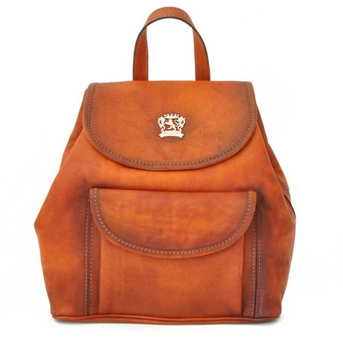Gaville: Bruce Range Collection – Italian Calf Leather Flap Pocket Backpack in Cognac