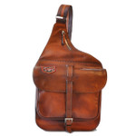 Bisaccia: Bruce Range Collection – Full-size Italian Calf Leather Messenger Backpack in Brown - Front View