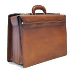 Lorenzo Magnifico II : Bruce Range Collection – Triple Compartment Italian Calf Leather Briefcase in Brown - Side view