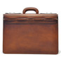 Lorenzo Magnifico II : Bruce Range Collection – Triple Compartment Italian Calf Leather Briefcase in Brown - Back view