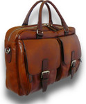 Montalcino: Bruce Range Collection – Single Compartment Italian Calf Leather Briefcase in - Brown Side View