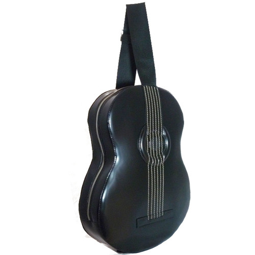 Filicaja: Radica Range Collection – Italian Calf Leather Guitar Backpack in- Black