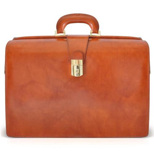 Leonardo: Radica Range Collection – Accordion Italian Calf Leather Lawyer Briefcase in - Marrone