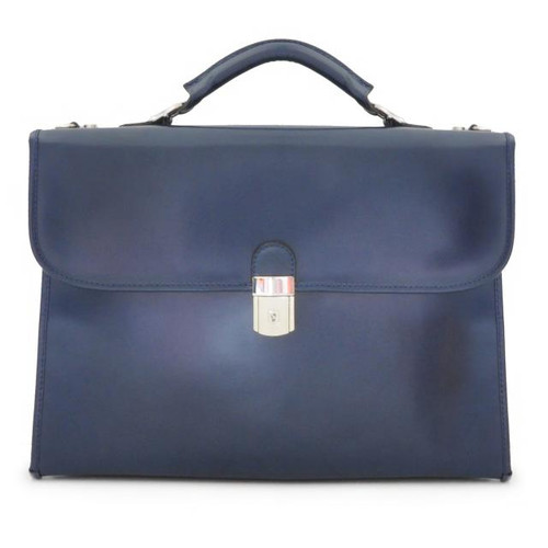 Da Verrazzano Leather Laptop Briefcase  - Blue