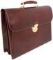 Donatello - Double Compartment Leather Briefcase - Coffee