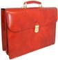 Donatello - Double Compartment Leather Briefcase - Brown