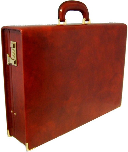Machiavelli: Radica Range Collection – Grande Italian Calf Leather Attache Briefcase in - Brown