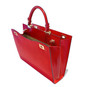 Anna Maria Luisa: Radica Range Collection – Large Italian Calf Leather Top Handle Handbag in Cherry - Open View
