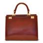 Anna Maria Luisa: Radica Range Collection – Large Italian Calf Leather Top Handle Handbag in Coffee