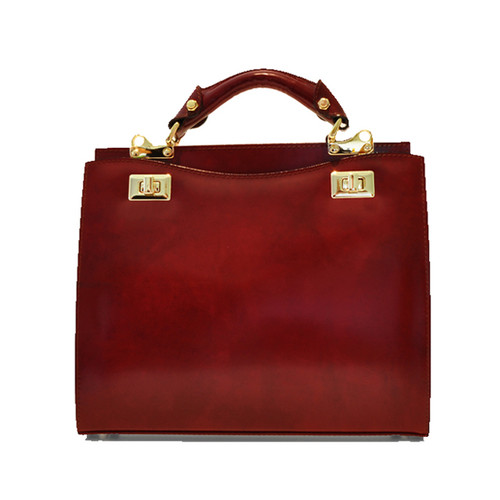 Anna Maria Luisa: Radica Range Collection – Medium Italian Calf Leather Top Handle Handbag in Chianti