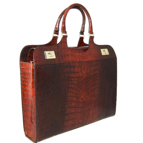 Cimabue: King Croco Range Collection – Italian Calf Leather Briefpurse in Cognac King