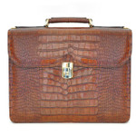 Verrocchio: King Croco Range Collection – Triple Compartment Italian Calf Leather Briefcase in Cognac
