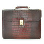 Verrocchio: King Croco Range Collection – Triple Compartment Italian Calf Leather Briefcase in King Dark Brown