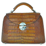 Veneziano: King Croco Range Collection – Small Italian Calf Leather Top Handle Grab Handbag in - Cognac
