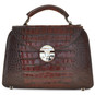 Veneziano: King Croco Range Collection – Small Italian Calf Leather Top Handle Grab Handbag in - Dark Brown