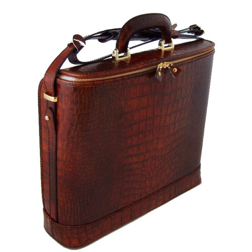 Raffaello: King Croco Range Collection – Grande Italian Calf Leather Top-Handle Laptop Briefcase in - Cognac