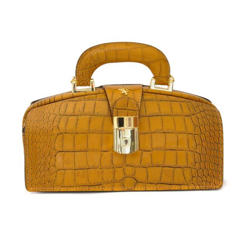 Lady Brunelleschi: King Croco Range Collection – Italian Calf Leather Top Handle Lady Doctor Handbag in Mustard