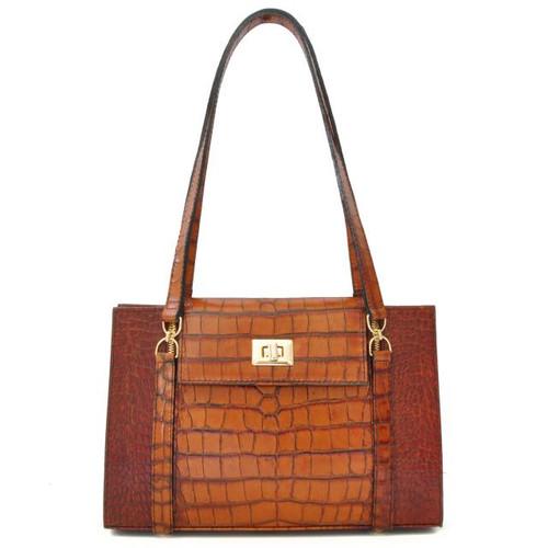 Angelico: King Croco Range Collection – Small Italian Calf Leather Shoulder Brief-purse in Cognac Bag - King Cognac