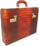 Ghirlandaio: King Croco Range Collection – Italian Calf Leather Small Travel Desk Attache in - Cognac