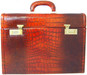 Ghirlandaio: King Croco Range Collection – Italian Calf Leather Small Travel Desk Attache in - Cognac Front View