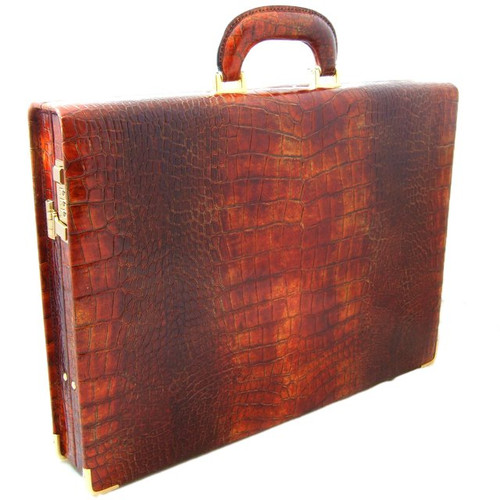 Machiavelli: King Croco Range Collection: Slim Medium Italian Calf Leather Attache Briefcase in Cognac