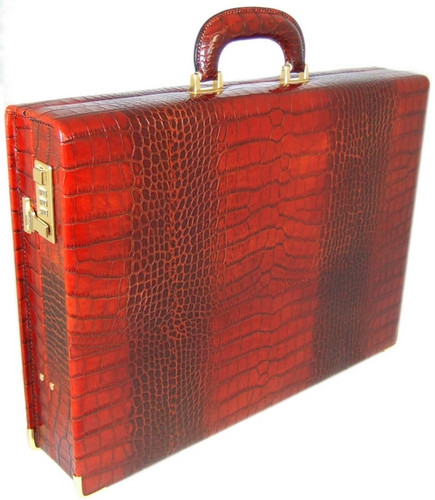 Machiavelli: King Croco Range Collection – Medium Italian Calf Leather Attache Briefcase in - Cognac