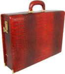 Machiavelli: King Croco Range Collection – Grande Italian Calf Leather Attache Briefcase in - Cognac