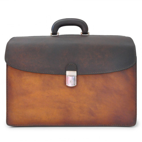 Leonardo: Bruce Collection – Calf Leather Accordion Briefcase in Brown Main View