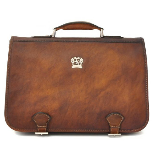 Secchieta: Bruce Range Collection – Italian Calf Leather Laptop Messenger Bag in - Brown