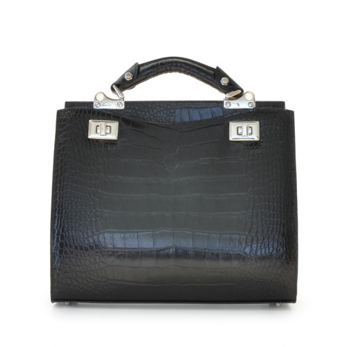 Anna Maria Luisa: King Croco Range Collection – Medium Italian Calf Leather Top Handle Handbag in Black
