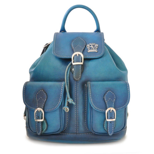 Caporalino: Bruce Range Collection – Italian Calf Leather Buckle Flap Backpack  - in Blue