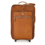 Polinesia: Bruce Range Collection – Italian Calf Leather Wheeled Trolley Suitcase in Brown Front VIew