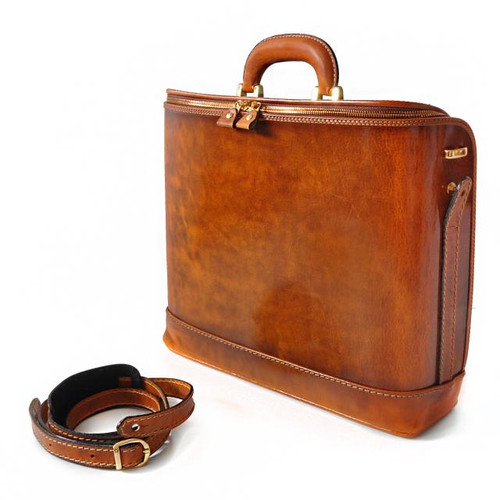 Raffaello: Santa Croce Range Collection – Italian Calf Leather Top-Handle Laptop Briefcase  in Cognac- Full View