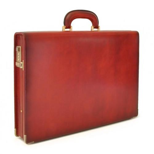 Machiavelli: Santa Croce Range Collection – Italian Calf Leather Attache Briefcase in -Ciliegia
