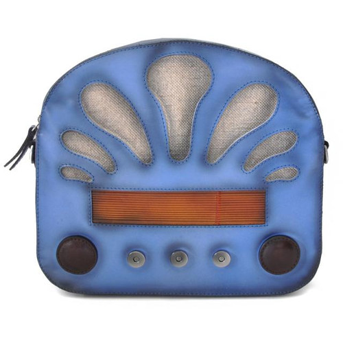 Radio Days: Santa Croce Range Collection - Italian Calf Leather Cross body Bag in Sky Blue