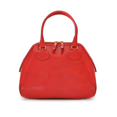 Capalbio: Radica Range Collection – Medium Italian Calf Leather Top Handle Tote Handbag in- Cherry