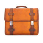 Vallombrosa: Bruce Range Collection – Italian Calf Leather Accordion Double Compartment Briefcase in Cognac Front View