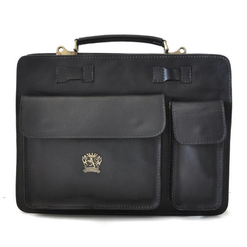 Milano: Bruce Range Collection – Grande Italian Calf Leather Tophandle Briefcase in Black