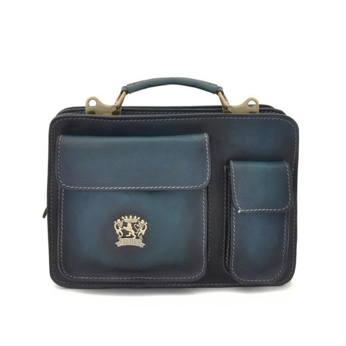 Milano: Bruce Range Collection – Small Italian Calf Leather Tophandle Briefcase in Blue