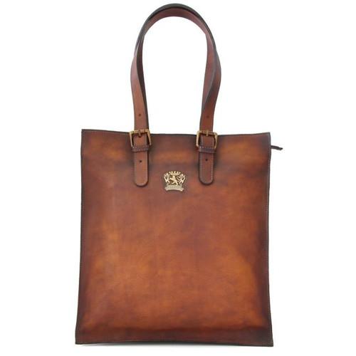 Bibbiena: Bruce Range Collection – Italian Calf Leather Buckle Handle Tote Handbag in Brown