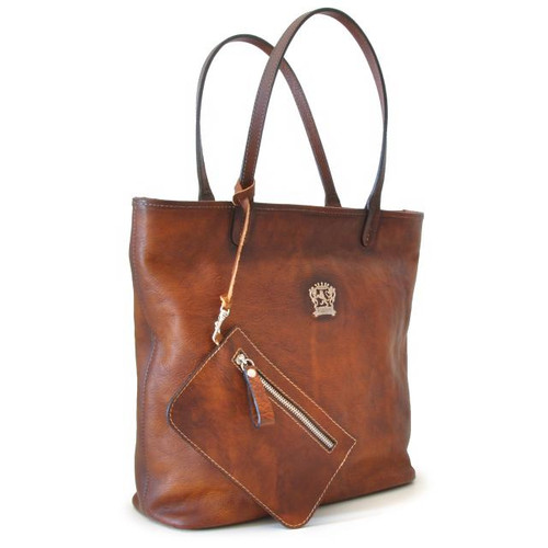 Monterchi: Bruce Range Collection –  Italian Calf Leather Tote Handbag in Brown (with matching wallet view)
