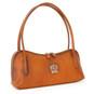 Sansepolcro: Bruce Range Collection – Italian Calf Leather Baguette Shoulder Bag in Cognac (side view)