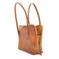 Talla: Bruce Range Collection – Italian Calf Leather Tote Shoulder Bag in Brown (open side view)