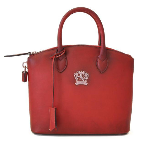 Versilia: Bruce Range Collection – Small Italian Calf Leather Cross body Tote Handbag in Cherry