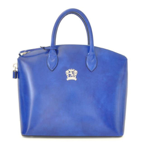 Versilia: Radica Range Collection – Italian Calf Leather Cross body Tote Handbag in Electric Blue