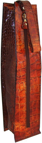Arianna:King Croco Range Collection – Italian Calf Leather Winecase in Cognac