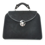 Veneziano: Cavallino Collection – Large Italian Calf Leather Top Handle Grab Handbag in Black